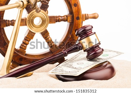 judge gavel money and marine law - stock photo