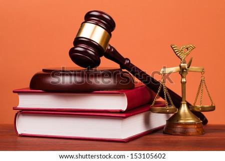 judge gavel on table - stock photo
