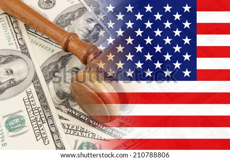 Judge gavel on usa dollar banknotes, collage with flag