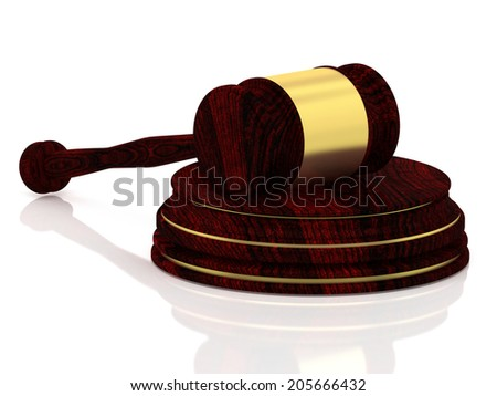 Judge gavel with golden decorations - wooden gavel - law concept - isolated on white