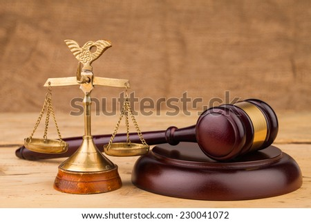 judge gavel with scales closeup - stock photo