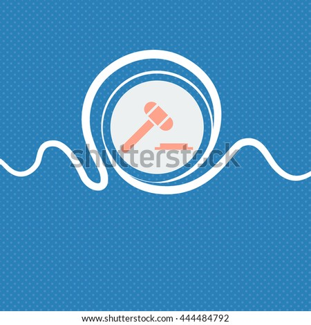 judge hammer icon. Blue and white abstract background flecked with space for text and your design. illustration - stock photo
