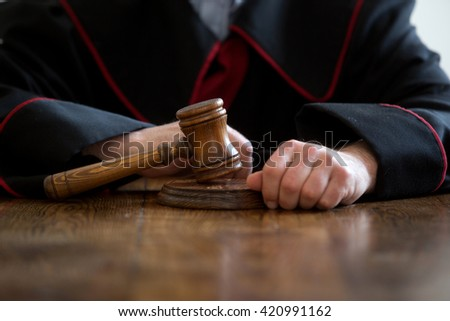 judge hand with gavel, Law concept