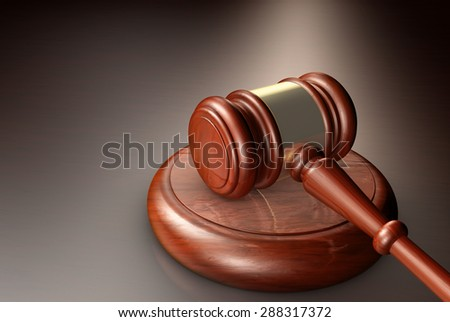 Judge, law, lawyer and Justice concept with a close-up 3d render of a gavel on a wooden desktop. - stock photo