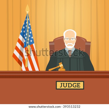 Judge man in courthouse at tribunal with gavel and flag of USA. Civil and criminal cases public trial. Hearing in the Supreme Court. Flat illustration. Law and justice conceptual banner. - stock photo