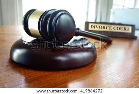 Judge's court gavel with Divorce Court nameplate                                - stock photo