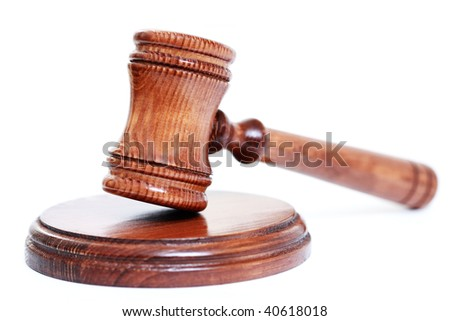 judge's courtroom gavel on white background - stock photo