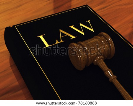 Judge's gavel and law book ,3d illustration - stock photo
