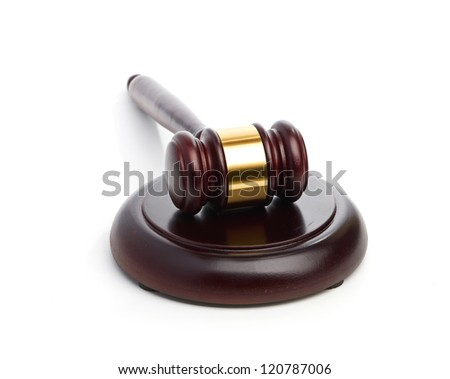 Judge's gavel isolated on white background