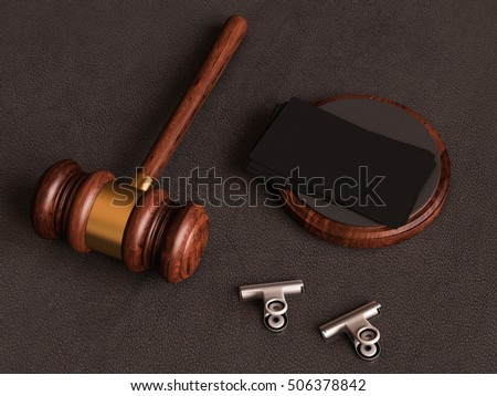 Judge's gavel on leather substrate. 3D illustration. High quality