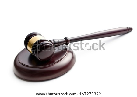 judge's gavel on white background