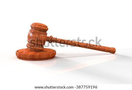 Judge's wooden gavel isolated on white background. Hammer on stand. Gavel illustration for business, finance and criminal judge decisions and verdicts