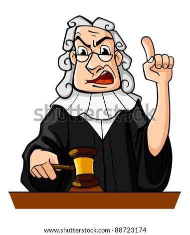 Judge with gavel makes verdict for law concept design. Vector version also available in gallery - stock photo