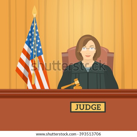 Judge woman in courthouse at tribunal with gavel and flag of USA. Civil and criminal cases public trial. Hearing in the Supreme Court. Flat illustration. Law and justice conceptual banner - stock photo