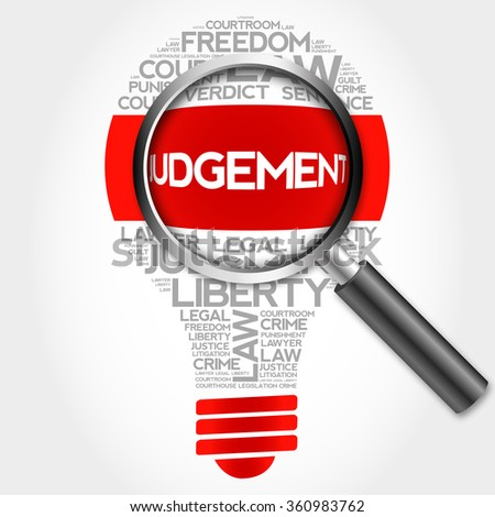 Judgement bulb word cloud with magnifying glass, business concept - stock photo