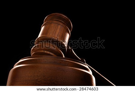 judges court gavel on a black background - stock photo