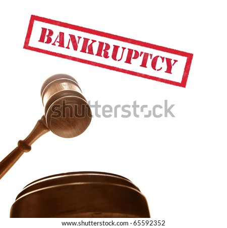judges court gavel with bankruptcy text, on white - stock photo