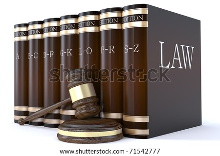 Judges gavel and law books - stock photo