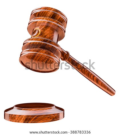 Judges gavel in constitutional court.. Wooden mallet over a sound block
