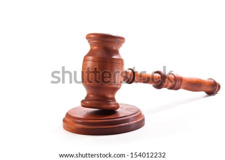 Judges gavel on a white background - stock photo
