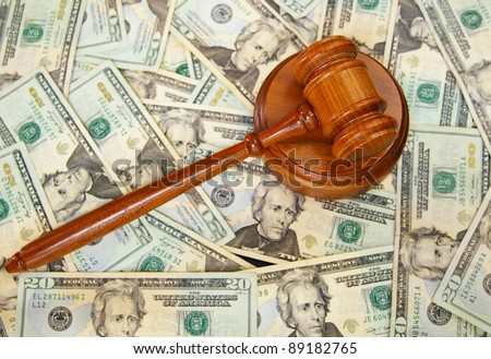 Judges gavel on U.S. Twenty dollar bills - stock photo