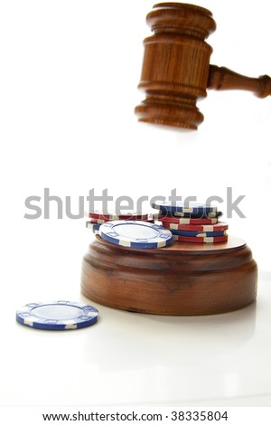 judges law gavel and poker chips, on white - stock photo