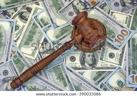 Judges Or Auctioneer Gavel On The Dollar Cash Background, Top View, Close-Up. Concept For Corruption, Bankruptcy, Bail, Crime, Bribing, Fraud, Auction Bidding,  Fines - stock photo