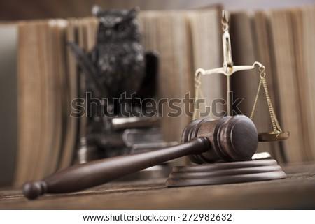Judges wooden gavel, ambient light vivid theme - stock photo