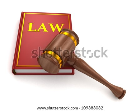 Judges wooden gavel and law book on white background - stock photo