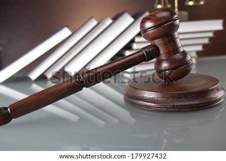 Judges wooden gavel and law books  - stock photo