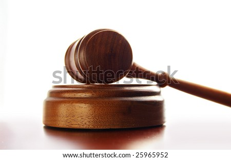 Judges wooden gavel isolated on white background