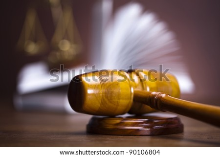 Judges wooden gavel, law - stock photo