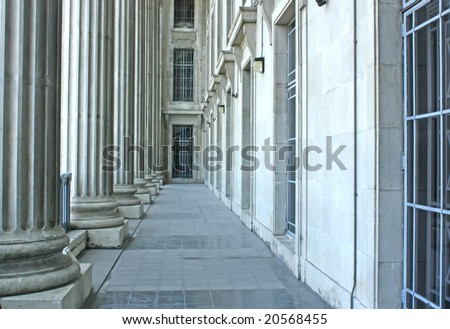 Judicial System Building Architecture in the Early Morning - stock photo