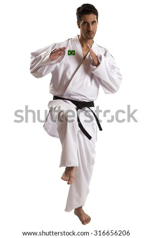 judo fighter on white background