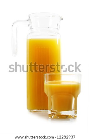 jug and glass filled with fresh orange juice