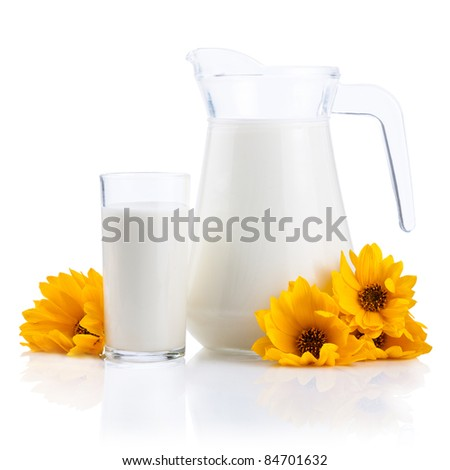 Jug and Glass of fresh milk and yellow flowers isolated on white background - stock photo