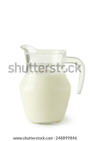 Jug of milk isolated on white - stock photo