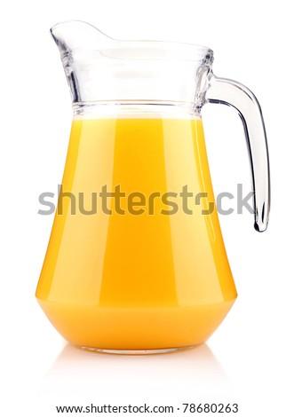 Jug of orange juice isolated on white background - stock photo