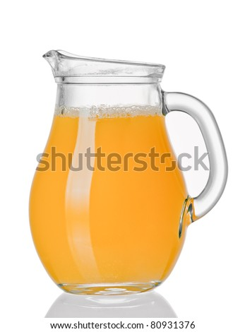 Jug with orange juice - stock photo