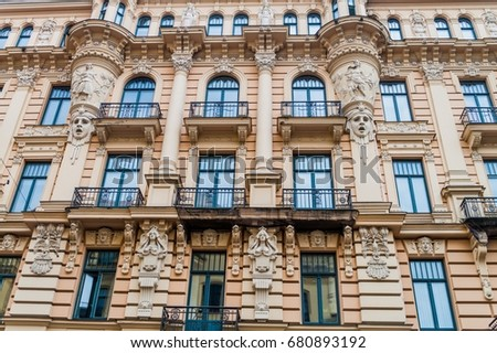 jugendstil art nouveau building riga latvia stock photo edit now