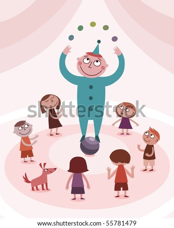 Juggling boy and kids - raster 