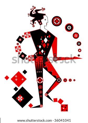 Juggling jester - stock photo