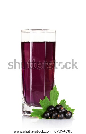 juice and  black currant  isolated on white - stock photo