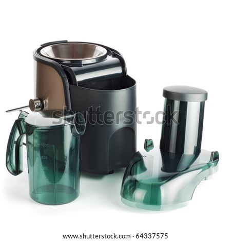 juice extractor parts isolated on white - stock photo