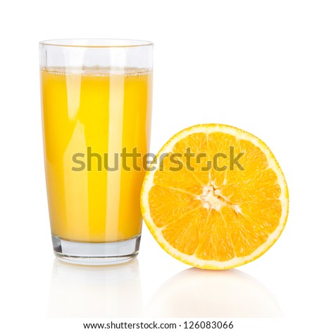 Juice glass and orange fruit isolated on white background
