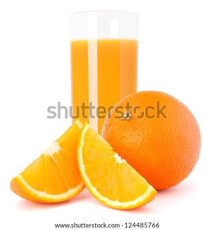 Juice glass and orange fruit isolated on white background cutout - stock photo