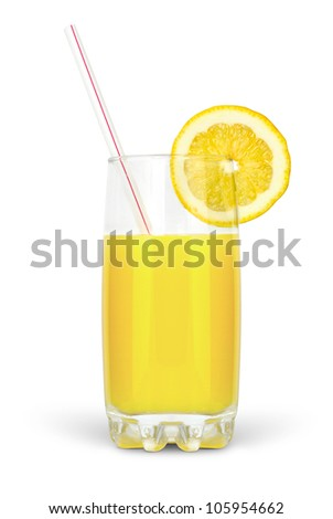 juice in glass with straw and lime isolated on white background