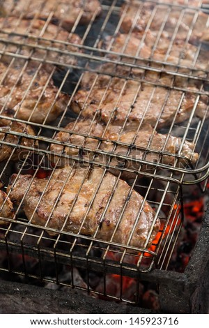 juice meat steaks in grilled barbecue