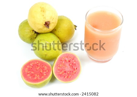 Juice of Guava Fruit over white background