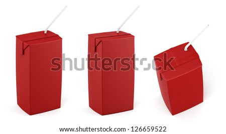 Juice red packing with white straw in different views - stock photo